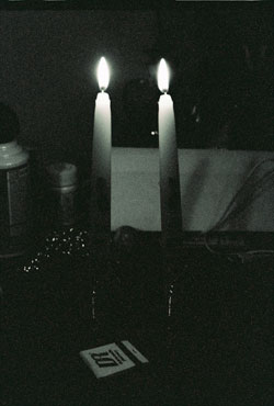 Shabbat Candles bw