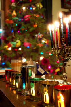 Menorah and Christmas tree by Matt de Turck