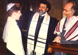 Jamie Sorge at his bar mitzvah with the cantor and rabbi