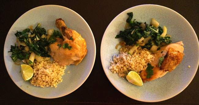Plated chicken and bok choy