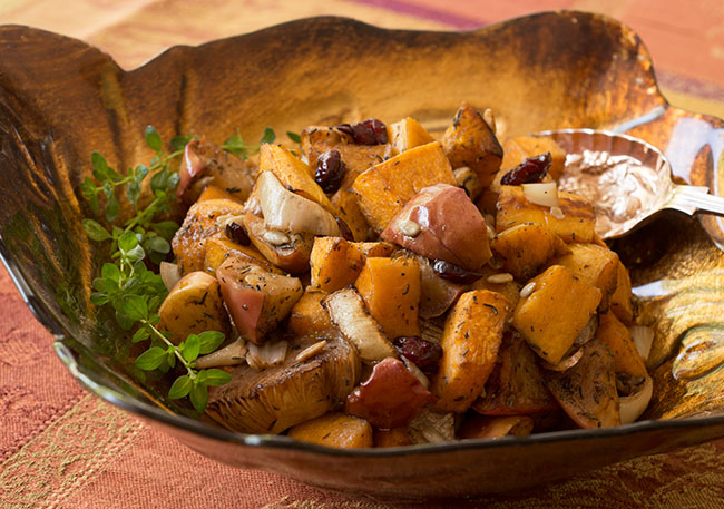 Roasted Butternut Squash with Apples and Onions