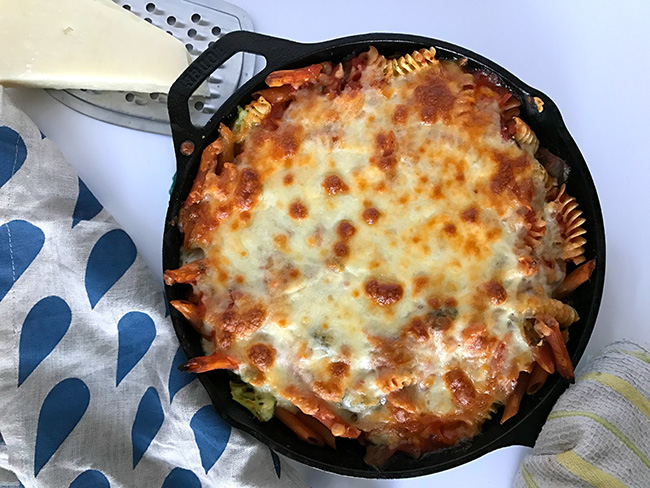 Skillet Pasta baked with cheese