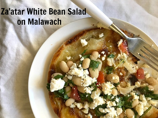 Za'atar White Bean Salad on Malawach