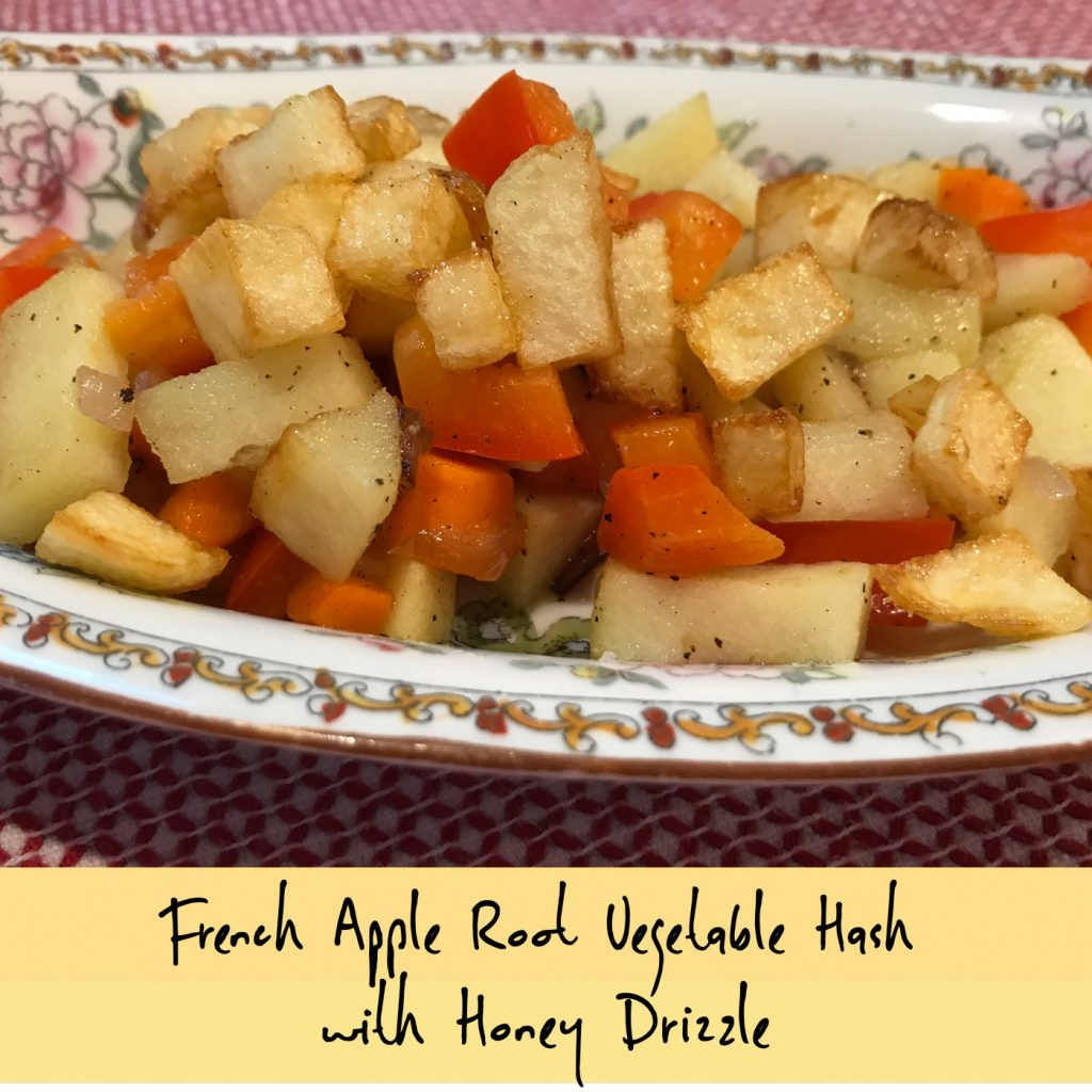 French Apple Root Vegetable Hash with Honey Drizzle