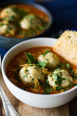 Matzo ball soup with ricotta