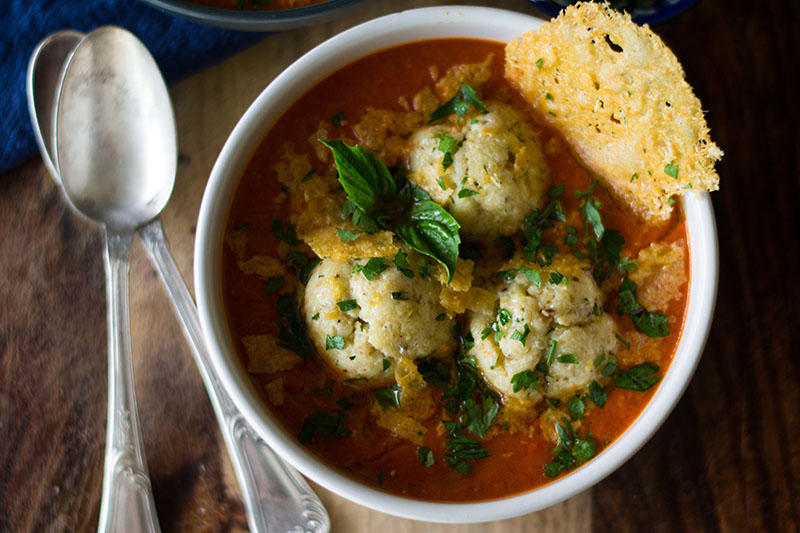 Ricotta matzo ball soup