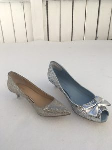 Two silver shoes in the snow