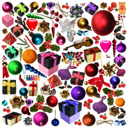 Assorted Christmas ornaments and goodies