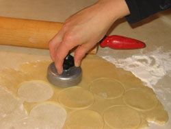 cutting hamantashen from dough