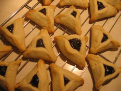 finished hamantashen cooling