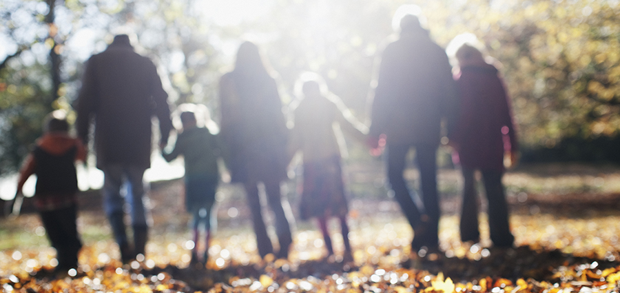 Extended family walking together in the park