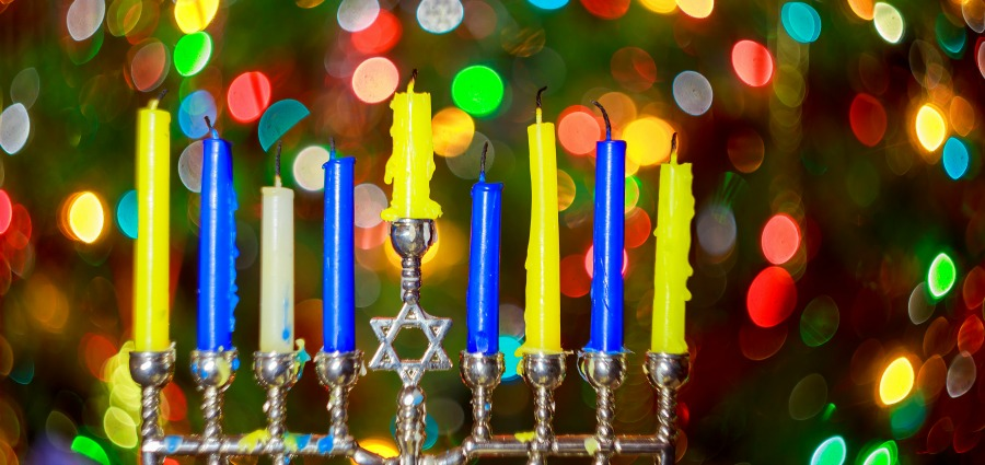 menorah with Christmas lights
