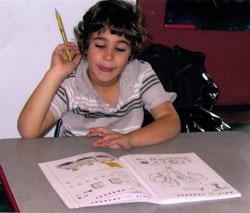 Deanna Shoss' son does Hebrew homework