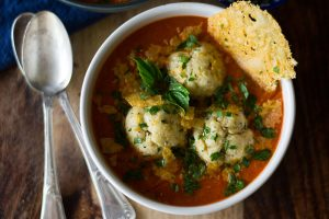 Roasted Tomato Soup with Ricotta Matzo Balls