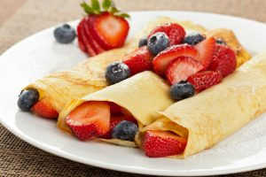 Fresh Homemade Rolled Strawberry Blintzes