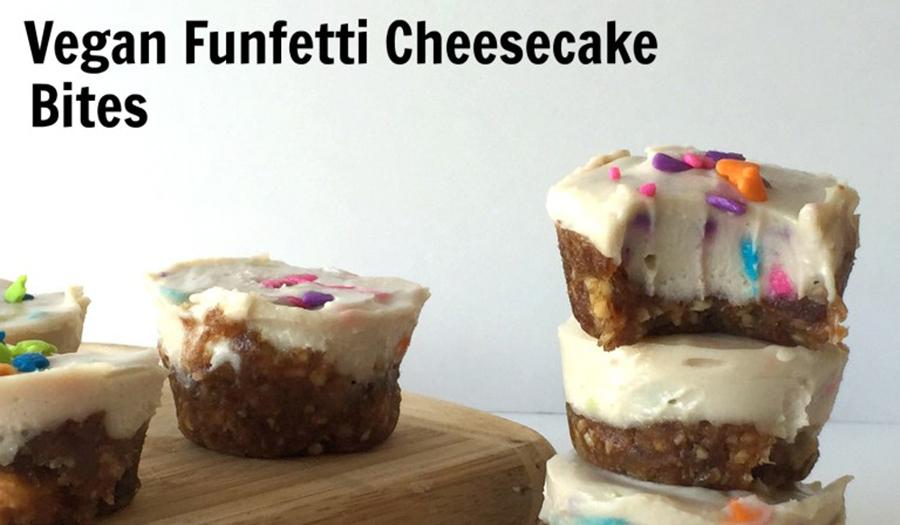 Vegan Funfetti Cheesecake Bites