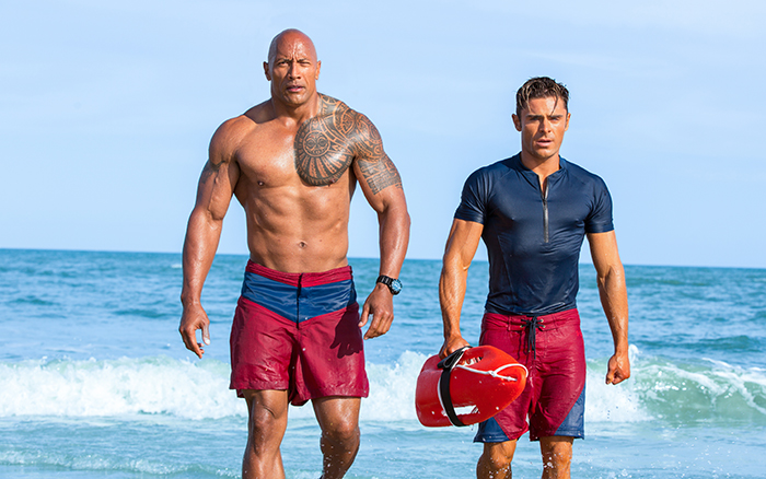 Dwayne Johnson and Zac Efron in the remake of Baywatch