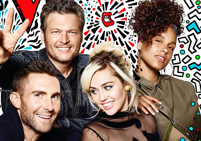 Blake Shelton, Adam Levine, Miley Cyrus and Alicia Keys - The Voice