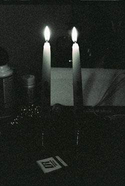Shabbat Candles bw