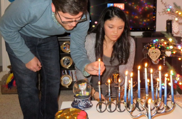 Lighting hanukkiah