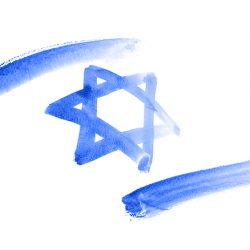 Flag of Israel in watercolor