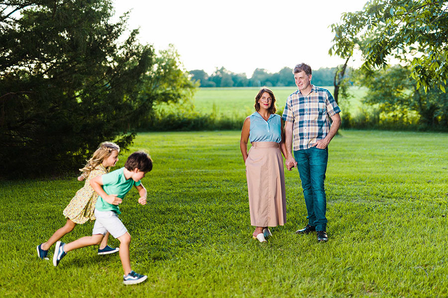 Vivian Howard, Ben Knight and their kids Flo and Theo. Credit: Baxter Miller