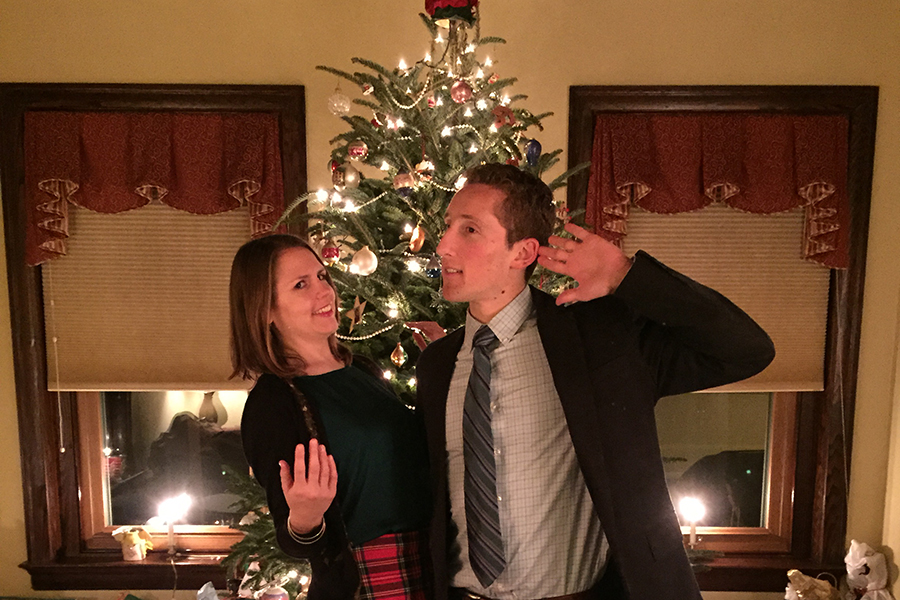 Laura and Zach at Laura's parents' house, Christmas 2015