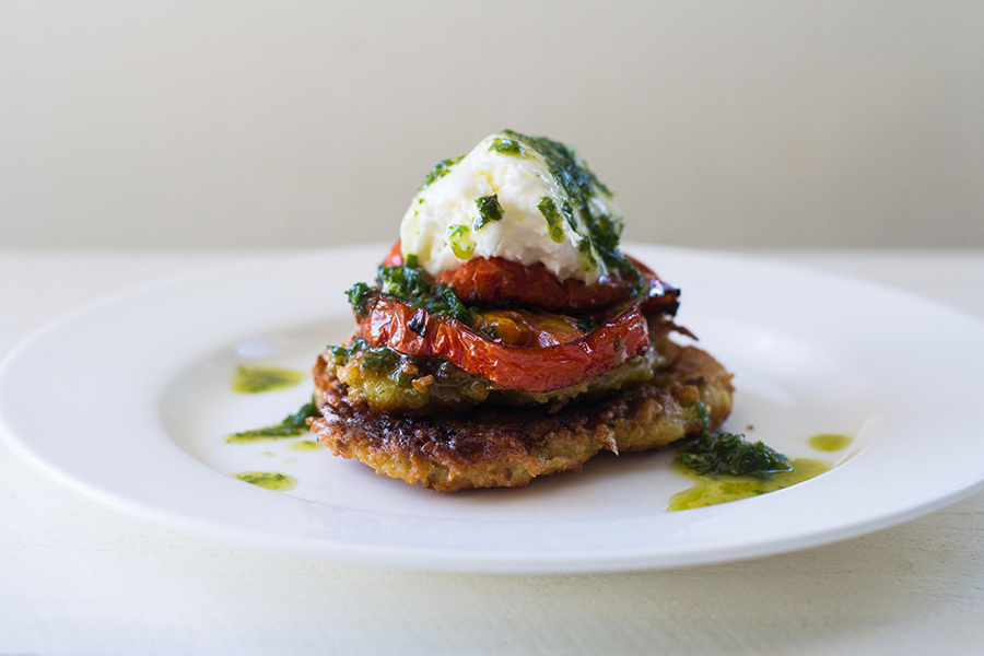 Plated Roasted Garlic Caprese Latkes