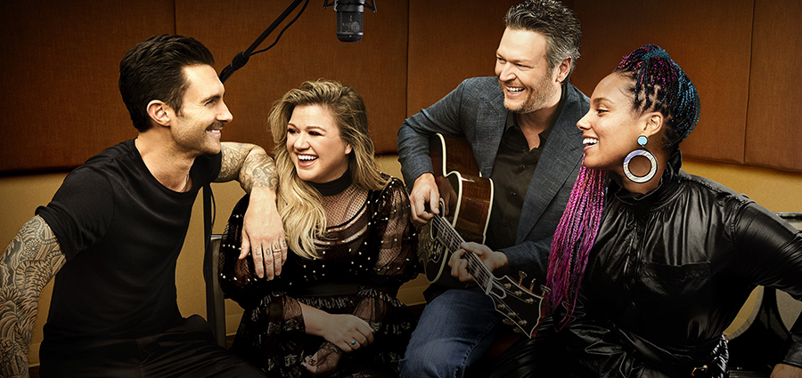 Cast of The Voice Season 14 Adam Levine, Kelly Clarkson, Blake Shelton & Alicia Keys