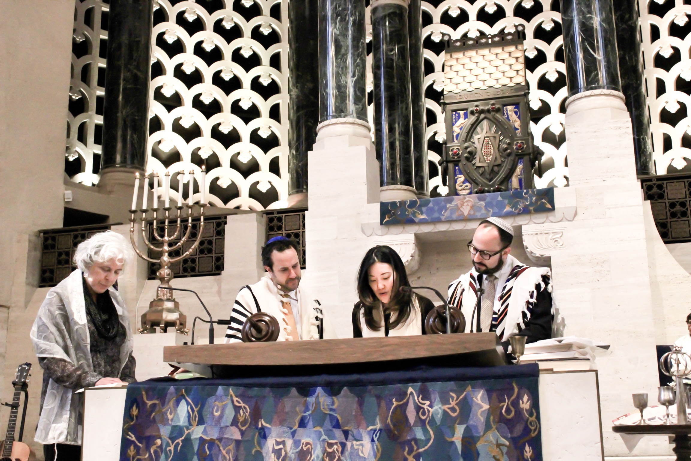 Kristin reading from the Torah