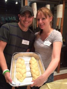 Couple making challah
