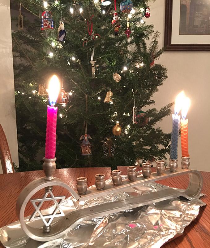 Menorah and Christmas tree