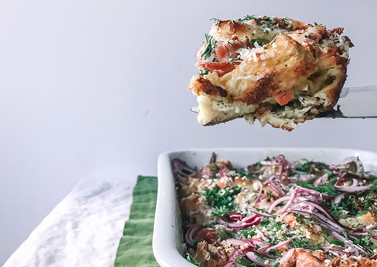 Bagel strata with challah & lox